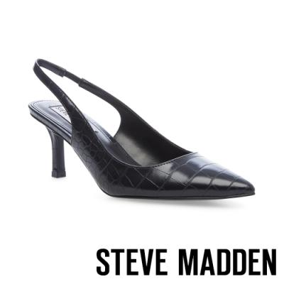 STEVE MADDEN-LYNX 鬆緊後帶鱷魚壓紋中跟涼鞋-黑色