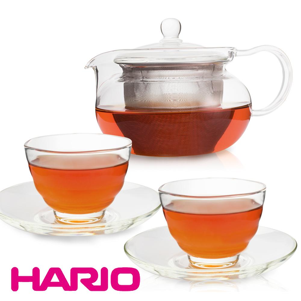 【日本 HARIO】茶茶急須丸形茶壺禮盒組(1濾壺+2杯+2盤)
