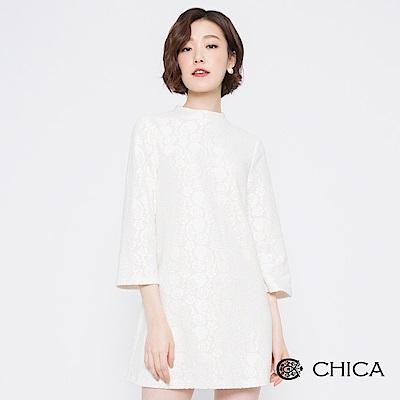 CHICA 純淨北國蕾絲小高領直筒洋裝(2色)