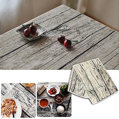 kiret 復古鄉村 仿真木紋 餐桌墊桌巾 70x70cm