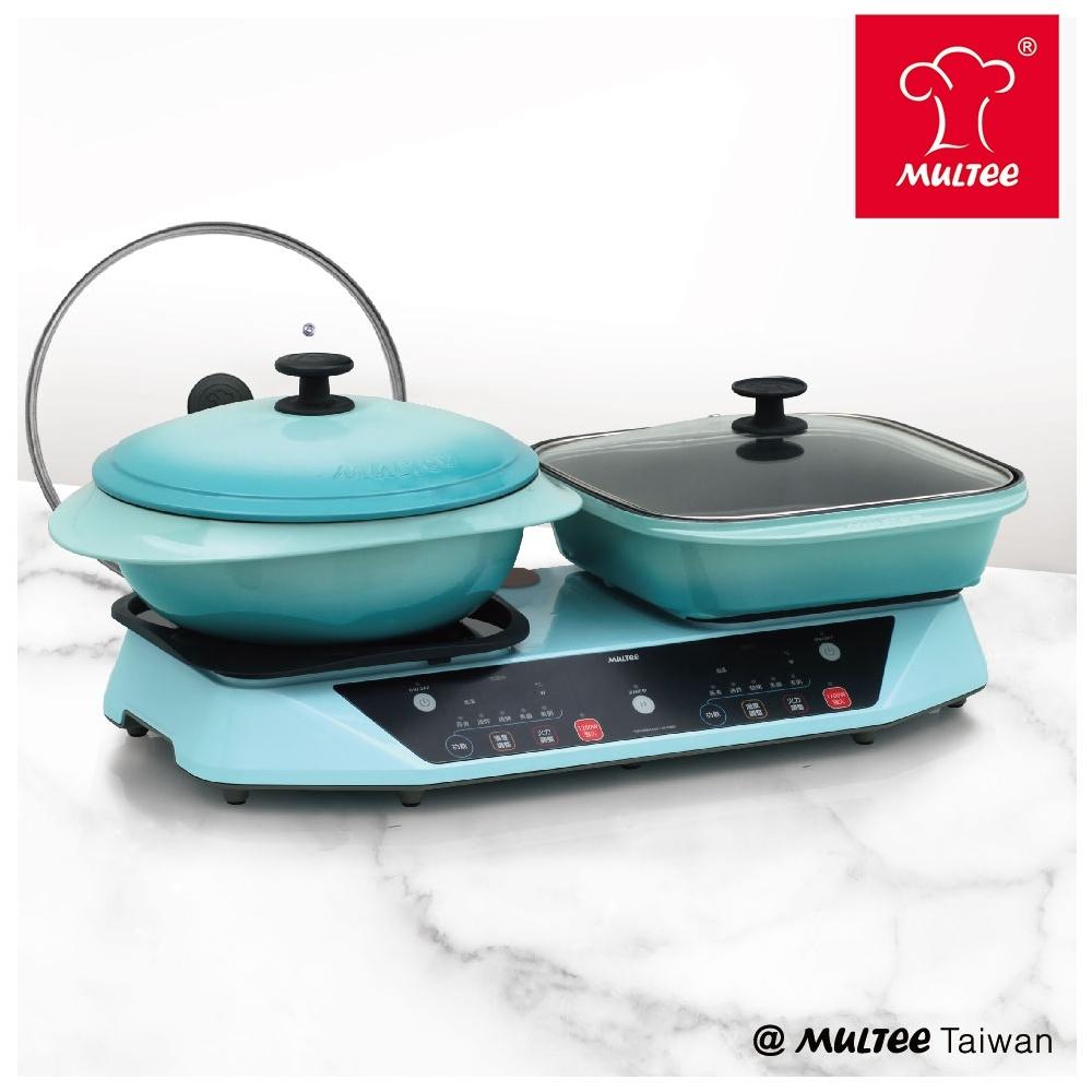 【摩堤】完美烹飪雙享組-雙爐IH智慧電磁爐+28鑄鐵方形烤盤+26鑄鐵媽媽鍋