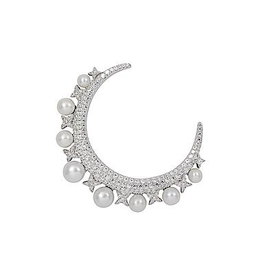 apm MONACO法國精品珠寶 閃耀銀色一千零一夜月亮珍珠單邊耳針式耳環