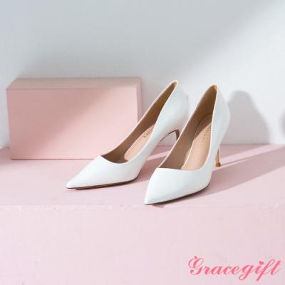 Grace gift-素面尖頭平口細高跟鞋 白