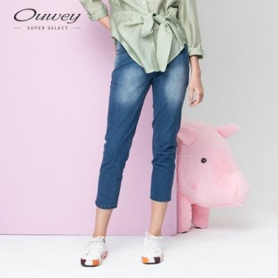 OUWEY歐薇 復古刷色八分牛仔褲(藍)