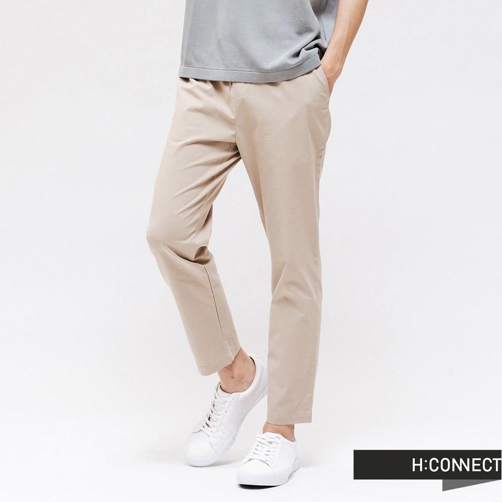 H:CONNECT 韓國品牌 男裝  - 素面休閒抽繩褲 - 卡其