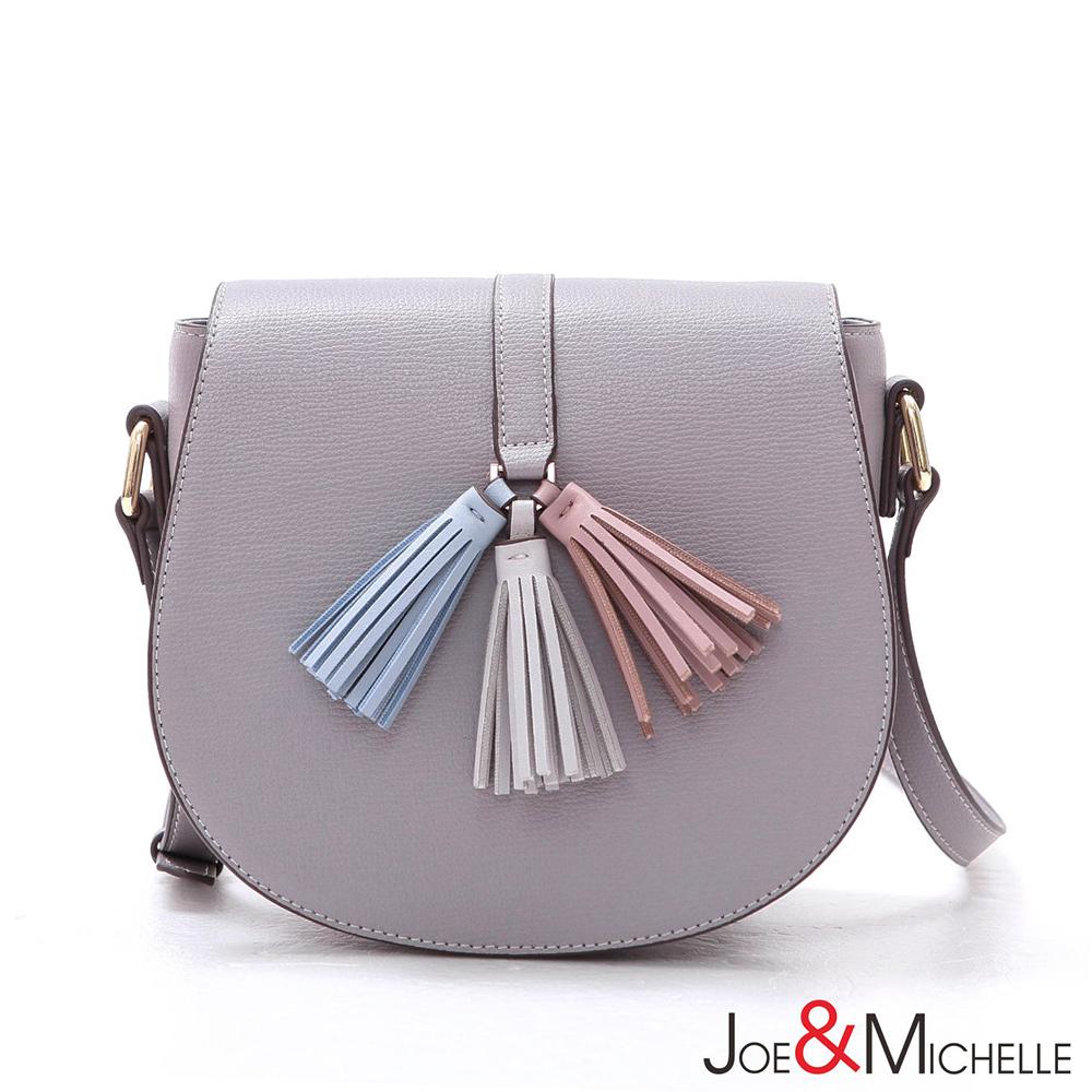 J&M 真皮蘿莉塔浪漫流蘇馬鞍包 芋藕紫