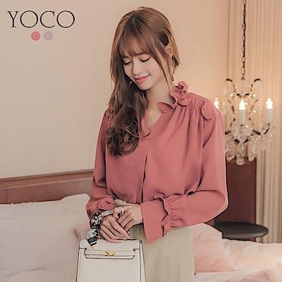 東京著衣-yoco 甜氛少女荷葉滾邊抓皺雪紡上衣-S.M.L(共二色)