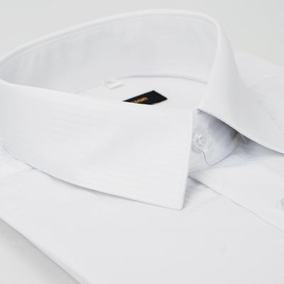 金‧安德森 白色暗條紋吸排窄版長袖襯衫