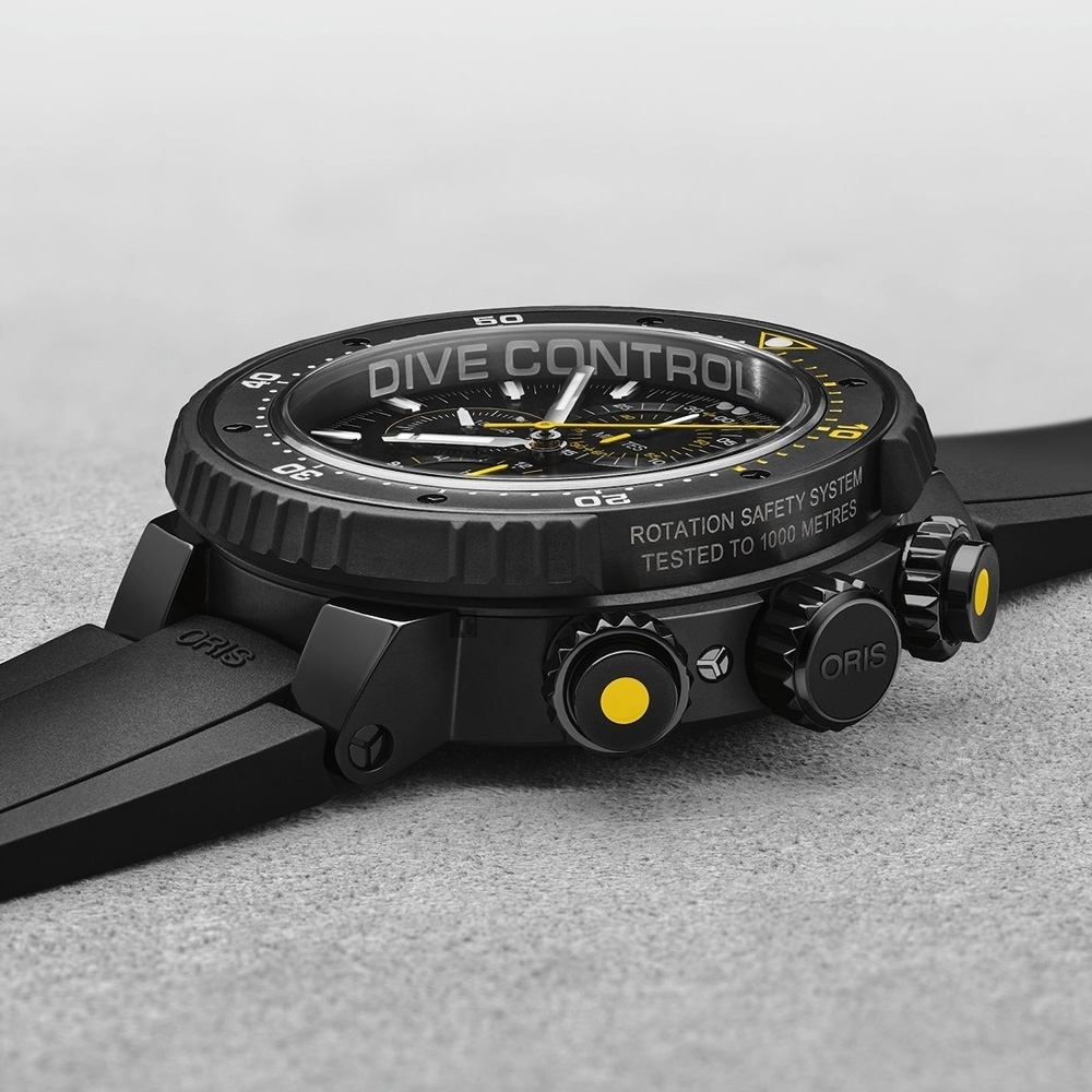 ORIS 豪利時 Dive Control 千米防水鈦金屬計時限量潛水機械錶-黑/51mm