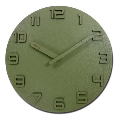 12吋 荔枝皮紋 居家擺飾 輕薄簡約 北歐 無印風 餐廳客廳臥室 靜音 圓掛鐘 - 墨綠色