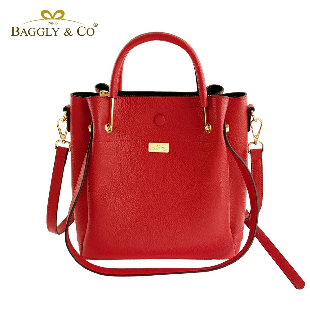 【BAGGLY&CO】精品皮革三用水桶包(紅色)