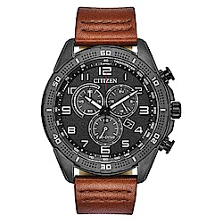 CITIZEN 星辰GENTS 光動能三眼碼錶皮帶男錶 AT2447-01E