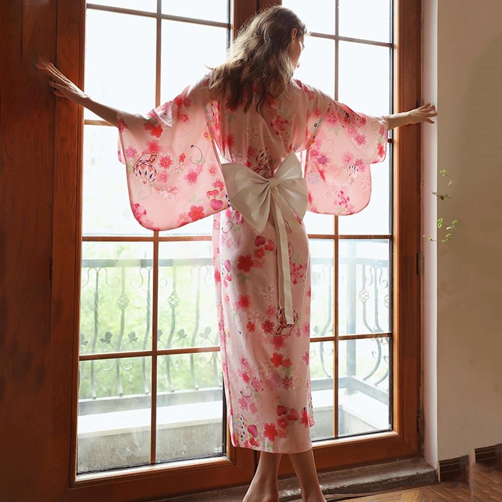 日系和服 花語粉色長版性感和服 角色扮演服裝表演服 流行e線