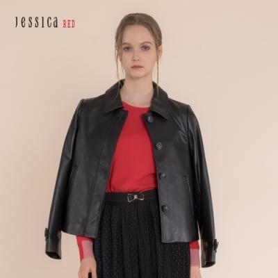 JESSICA RED - 黑色羊皮翻領短夾克外套