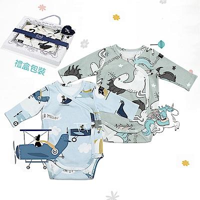 La Millou 新生兒彌月禮包屁衣2件組_3-6m-童話獨角獸(綠底)+法鬥飛行員