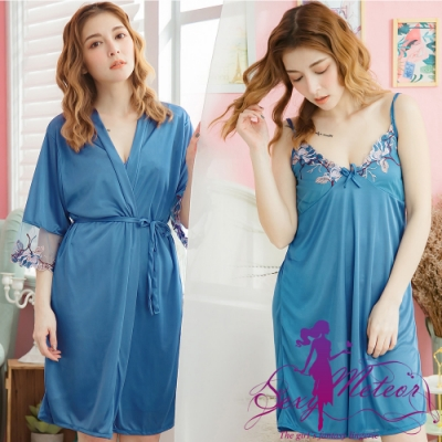 睡衣 全尺碼 V領睡裙+網紗繡花罩衫睡袍二件式睡衣組(經典藍) Sexy Meteor