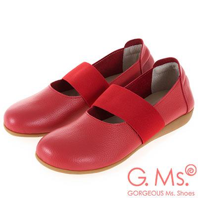 G.Ms. MIT系列-牛皮鬆緊帶圓頭平底休閒鞋-紅色