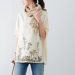 慢 生活 荷葉邊花圃刺繡棉質短衫- 杏/淺綠