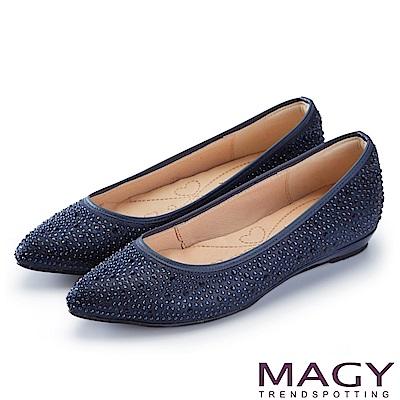 MAGY 低調奢華的美感 閃耀水晶鑽飾尖頭平底鞋-藍色