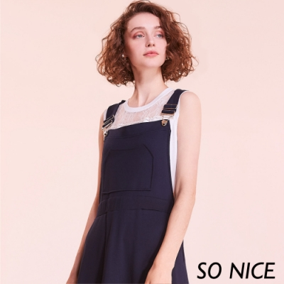 SO NICE休閒質感羅馬布吊帶裙
