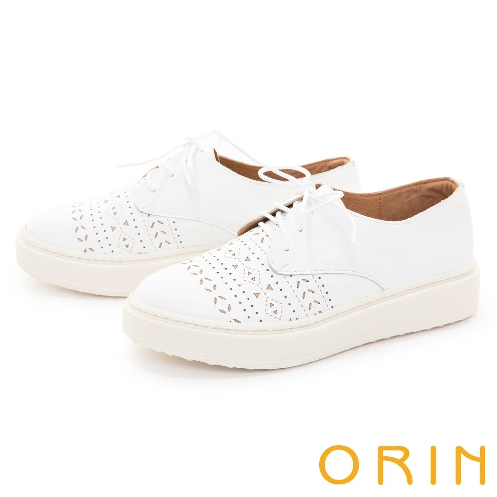 ORIN 造型洞洞真皮厚底綁帶 女 休閒鞋 白色