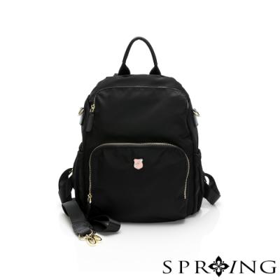 SPRING-未來質感系列尼龍防盜後背包-經典黑