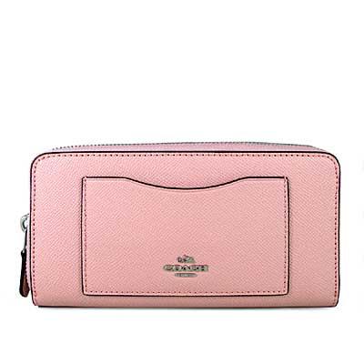 COACH 馬車Logo鵝卵石紋防刮皮革ㄇ型拉鍊前袋式長夾(胭脂粉色)