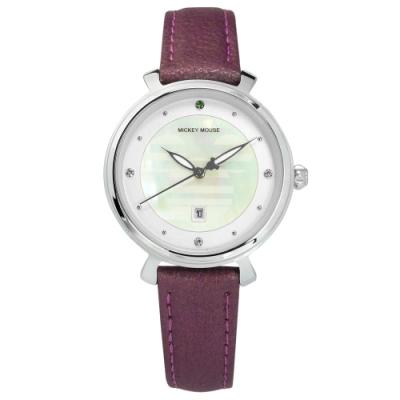 Disney 迪士尼 珍珠母貝 米奇指針 卡通錶 真皮手錶-銀白x紫/32mm