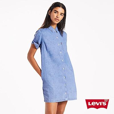 Levis 短袖牛仔洋裝 長版襯衫 單口袋
