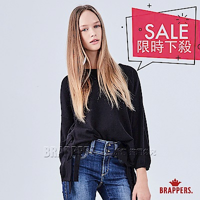 BRAPPERS 女款 落肩側綁帶長袖線衫-黑