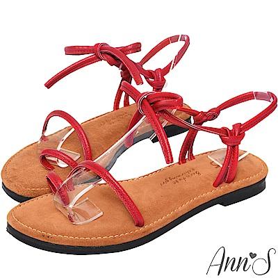 Ann'S水洗牛皮-小文青綁結寬版平底涼鞋-紅