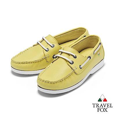 TRAVEL FOX(女) 我的天空 超軟苯染牛皮二孔經典親膚帆船鞋 - 檸派黃