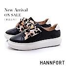 HANNFORT CAMPUS PLATFORM  豹紋絲帶厚底休閒鞋-女-黑