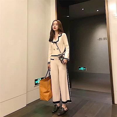 DABI 韓國小香風御姐時尚針織寬口褲套裝長袖褲裝