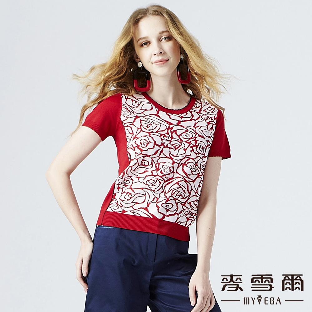 【麥雪爾】涼感雙色玫瑰緹花針織衫-紅