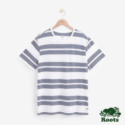 男裝Roots 米斯條紋短袖T恤-白