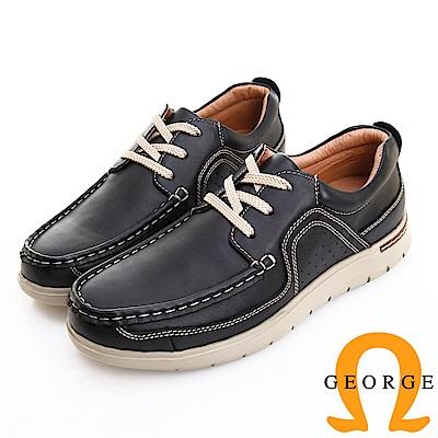 GEORGE 喬治皮鞋 輕量系列 素面真皮綁帶休閒鞋 -黑色