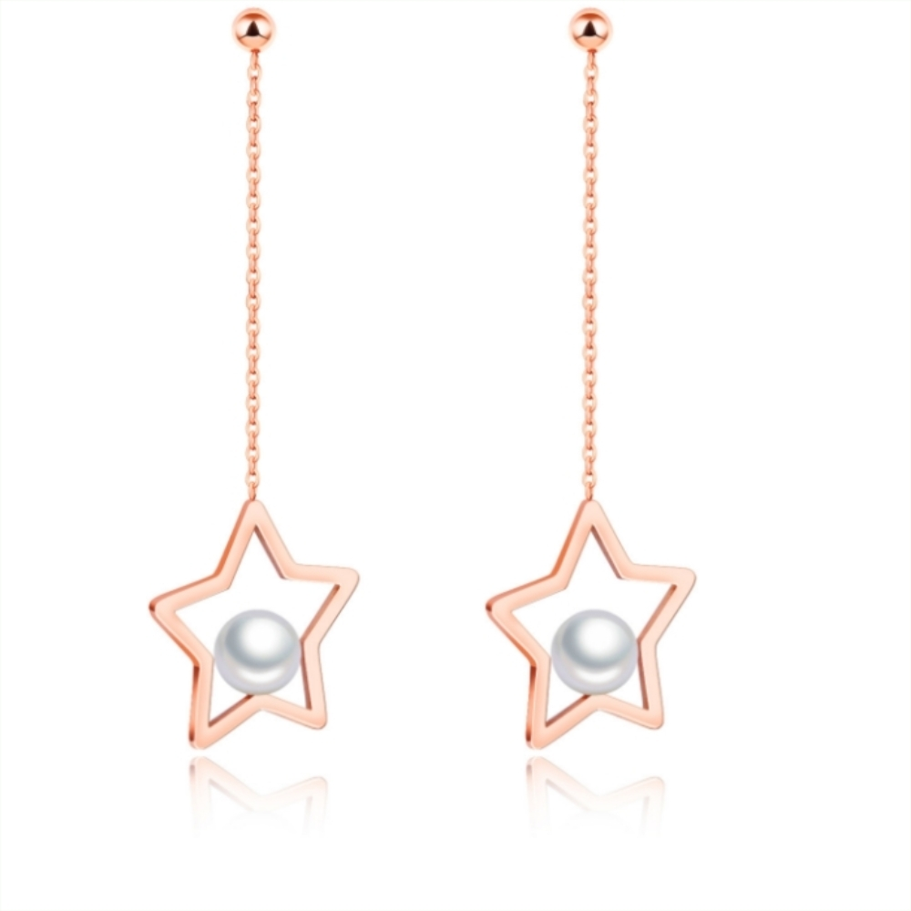 I-Shine-星之戀-西德鋼-氣質星星珍珠鈦鋼耳線耳環DA18