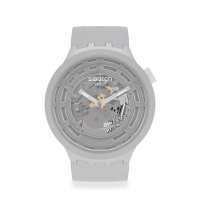 SWATCH 生物陶瓷 BIG BOLD系列手錶C-GREY 陶瓷灰(47mm)