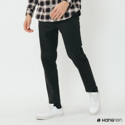 Hang Ten - 男裝 - 百搭純色修身休閒長褲 - 黑