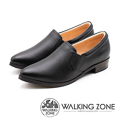 WALKING ZONE 真皮素面尖頭舒適低跟鞋 女鞋 - 黑(另有棕)