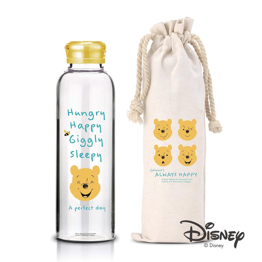 迪士尼Disney 微笑維尼耐熱玻璃瓶袋組370ml(10入/組)