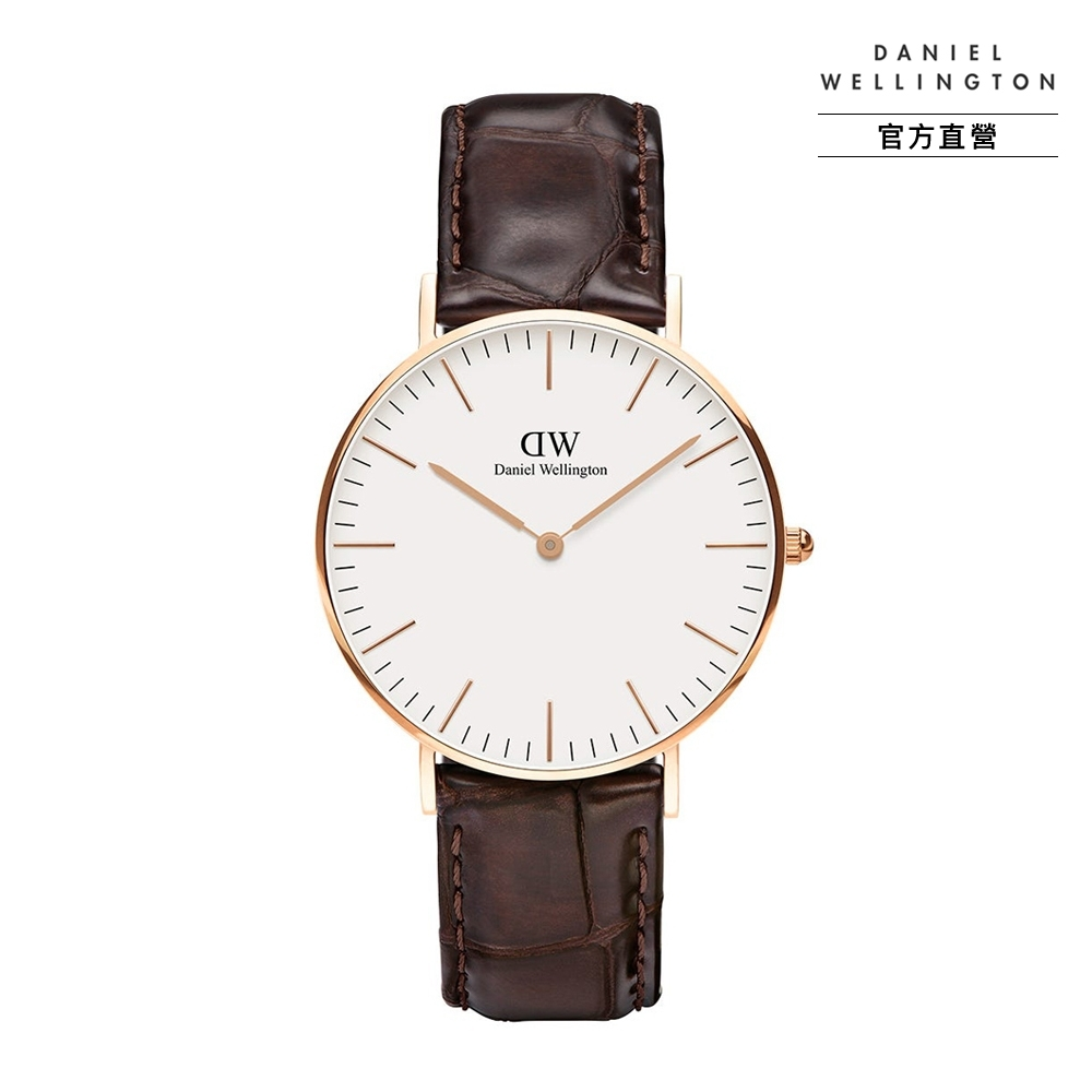 【Daniel Wellington】官方直營 Classic York 36mm黑棕壓紋真皮皮革錶 DW手錶