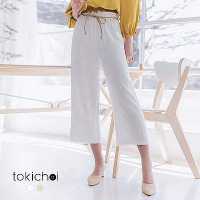 東京著衣 日系休閒麻繩綁帶腰部抓皺設計寬褲(共兩色)