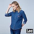 Lee 側邊綁帶牛仔長袖襯衫/RG-中藍色