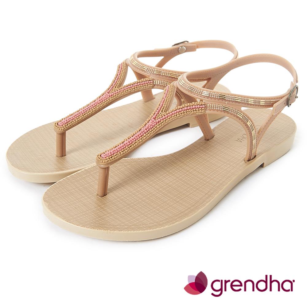 Grendha 異國情調T字帶串珠涼鞋-褐色