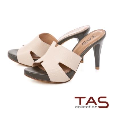 TAS鏤空剪裁蜥蜴壓紋高跟涼拖鞋-經典米