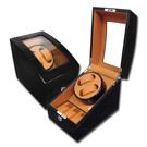 機械錶自動上鍊收藏盒 1旋2入錶座轉動+3入收藏 鋼琴烤漆 - 黃棕x黑