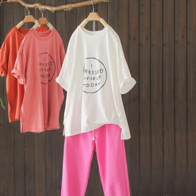 純棉印花圓領T恤寬鬆休閒短袖上衣-設計所在