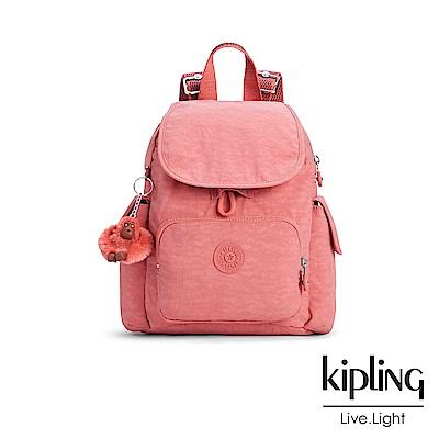 Kipling 後背包 豆沙霧粉素面-中